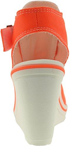 Maxstar 775 Toile décorative ouverte-Wedge Sandals chaussures à talon Orange - Orange