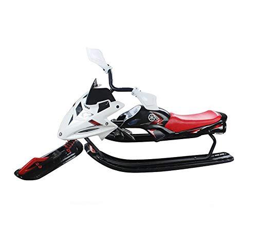 125cm Kunststoff-Racer-Schlitten, Schneeschlitten mit Lenkrad und Doppelbremse Snow Racer-Schlitten für Kinder ab 6 Jahren - kann Zwei Kinder oder einen Jugendlichen halten,White (Schlitten 6 Kunststoff)