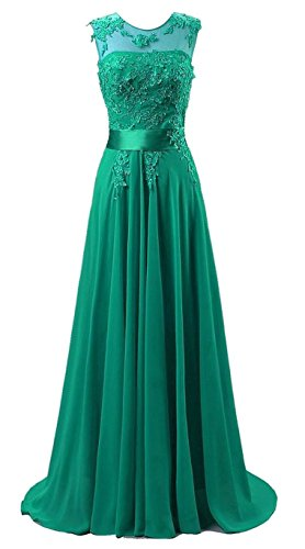 Edaier Damen Lange Chiffon Abendkleid Formales Kleid Größe 42 Grün