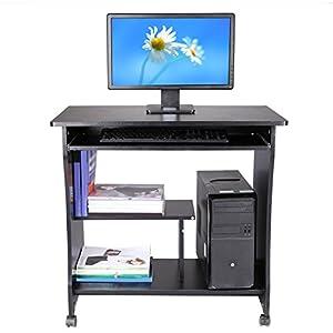 Ncient Computertisch Mit Tastaturauszug Und Rollen, Schreibtisch Aus Holz,  Bürotisch 3 Regale, 80
