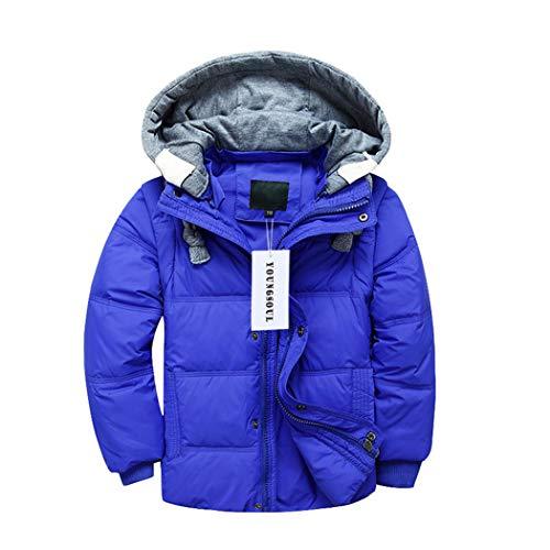 YoungSoul Kinder Daunenjacken Winterjacke mit abnehmbarer Kapuze für Jungen Mädchen Kinderweste Daunenweste warm Herbstjacken Wintermantel Hellblau 6-7T/Körpergröße 120-130cm