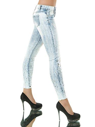 L989 Damen 7/8 Jeans Hose Hüfthose Damenjeans Hüftjeans Röhrenjeans Röhrenhose Blau