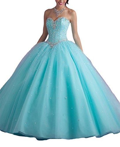 Bridal_Mall - Robe - Boule - Sans Manche - Femme Rose Rose Bleu - Aqua