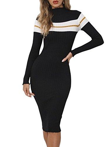 ca43c07c7b427a Terryfy Damen Knielang Kleid Elegant Langarm Gestreift Mini Strickkleid  Streetwear Pullover
