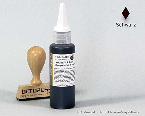 50 ml Solvent Stempelfarbe schwarz, wasserfest auf Lösemittelbasis für nicht saugende und nicht poröse Untergründe, lasierend