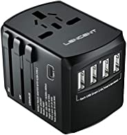 LENCENT Universal Travel Adaptor with UK/USA/EU/AUS Worldwide Travel Charger Plug, 4 USB Ports and 1 Type C In