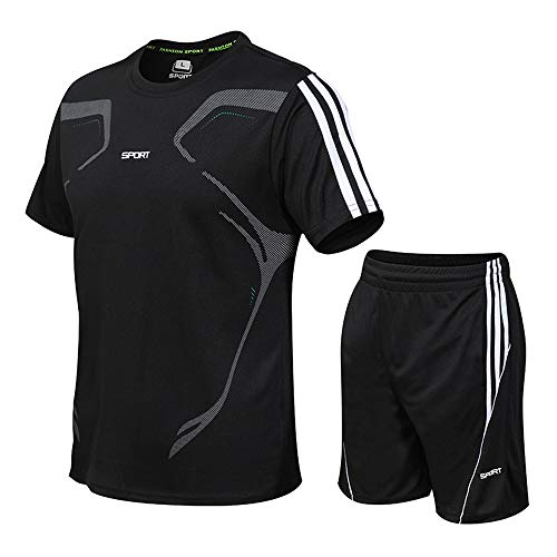 Men's Compression Shirt Set Herren Fitness Kurzarm T-Shirt Herren Shorts Lose Kleidung, XL