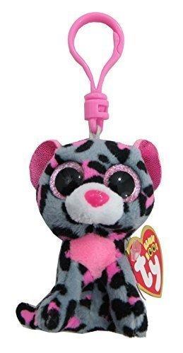 Carletto Ty 36616 - Tasha Clip Leopard mit Glitzeraugen Glubschi's Beanie Boo's, 8.5 cm, Pink/Grau