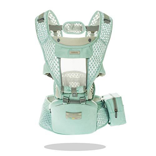 ZYXA Babytrage Bauchtrage Ergonomisch für Säuglinge bis 20Kg, Kindertrage Rückentrage Hüfttrage für alle Jahreszeite träger Grün