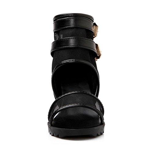 JOJONUNU Femmes Ete Compensees Sandales Black