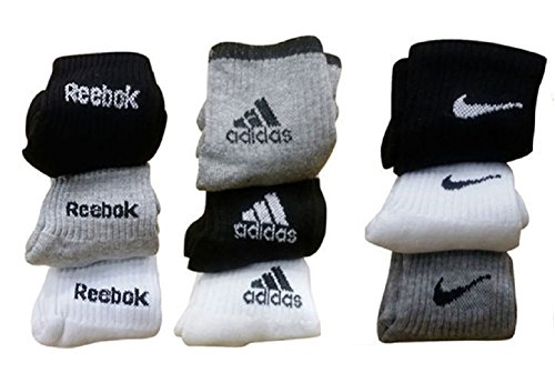Combo Offer Of 9 Pairs Adidas, Reebok and Nike Logo Sports Ankle Length Socks