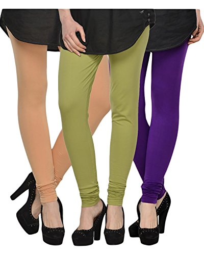 Kjaggs Women's Cotton Lycra Regular Fit Leggings Combo - Pack of 3...