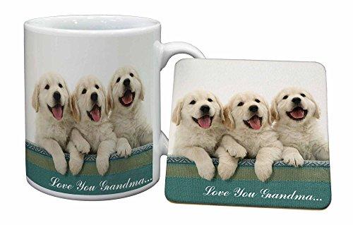 Advanta - Mug Coaster Set Golden Retrievers 'Love You Grandma' Becher und Untersetzer Tier Weihnachtsgesch