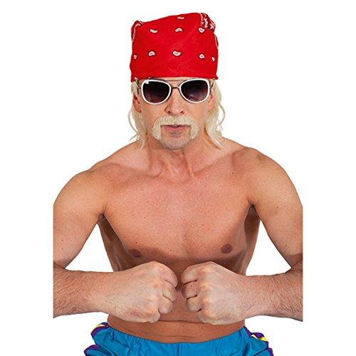 NET TOYS Hulk Hogan Bart Rocker Oberlippenbart blond Biker Moustache Herren Gangster Schnauzer Prolet Schnauzbart Vollhorst Kunstbart Karnevalskostüme Accessoires