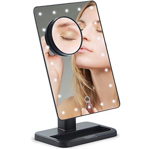 Beautify Espejo Maquillaje Cosmético - Iluminado con Luces LED y Espejo Magnificador para Tocador/Viaje, 2 Ajustes de Brillo y Rotación 180º - Marco y Soporte Negros