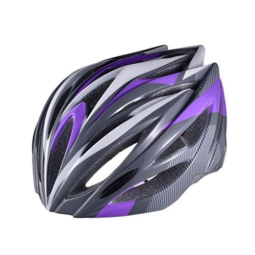 LXMJ Helm, Outdoor Fahrradhelm, hochfester, ultratmungsaktiver ultraleichter Schutzhelm, integrierter Fahrradhelm, Mountainbike Helm für Herren/Damen, einstellbare Größe, Lila Schwarz