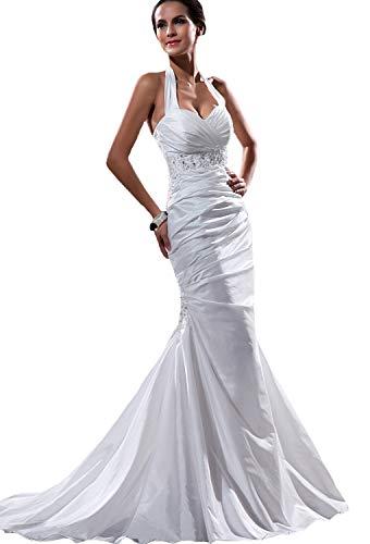 Angel Formal Dress Elegant TAFT Pleated/Perlen Halter Mermaid Brautkleid 34,Weiß