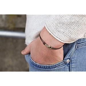 Dezentes Armband für Herren – edles Wickelarmband für Männer Minimalistisch – stufenlos verstellbar mit Karabiner-Haken Gold (braun)