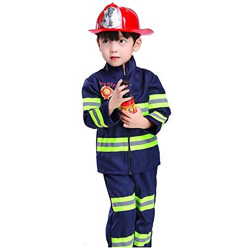 WSXX Feuerwehrmann-Kleidung, Berufskleidung für Kinder, Halloween-Rollenspiele, kleine Feuerwehrmann-Kostüme B 130CM