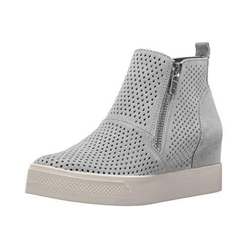 Plateau Sneaker Damen Keilabsatz Schuhe Wedge Stiefeletten Leder Reißverschluss Elegant 5cm Schwarz Rosa Beige Braun Gr.34-43 GY37