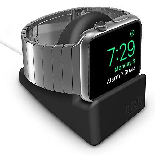 Orzly® Night-Stand für das Apple Watch - SCHWARZ mit Schlitz auf der Unterseite fuer das optimale Verbergen ihres Ladekabels (Grommet Ladegerät und Kabel sind nicht im Lieferumfang enthalten)
