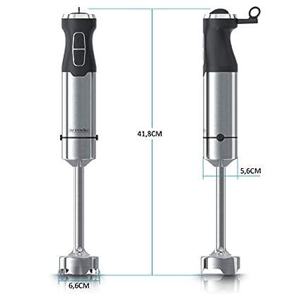 Arendo-Stabmixer-1000-Watt-Edelstahl-vierflgeliges-Messer-Prierstab-stufenlose-Geschwindigkeitsregelung-Turbotaste-abnehmbarer-Mixfu-GS-zertifiziert-Modell-2020