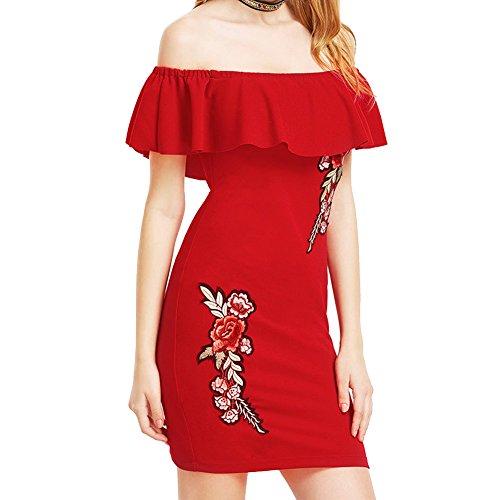 Gewaschenes Leinen Blazer (broadroot Frauen Sommer Stickerei Kleid Off Schulter Slim einteiligen Kleid (Wein Rot, S))