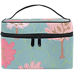 COOSUN Kirschbäume Cosmetic Bag Canvas Travel Kulturbeutel Top Single Layer Make-up-Beutel-Organisator Griff Multifunktions-kosmetischer Fall für Groß Mehrfarbig