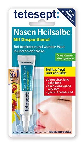tetesept Nasen Heilsalbe – Nasenpflege Creme bei Erkältung - befeuchtet die Nase, heilt wunde Stellen und Risse & schützt die Haut der Nase – 5 x 5 g