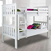 Happy Beds Atlantis Wooden Bunk Bed 3ft Single Solid Pine 2x Mattress Furniture
