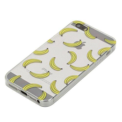 """Flexible Clair Rubber Housse pour Apple iPhone 5G/5s/SE 4.0"""", CLTPY 3D Creative Mignon Élégant Flower et Dessin Animé View Case, Premium Ultra Léger Mince Téléphone Mobile Accessories Pratique Hull de Banane"""