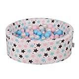 KiddyMoon Kinder Bällebad Mit Bällen 7CM Spielbällebad Mehrfarbig EU, Ecru: Baby Blau-Rose-Perle,90X30cm/300 Bälle