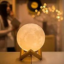 Yunhigh 3D USB LED táctil de control de la Luna Llena lámpara de mesa con pie de cama noche de luna decoración de la casa de luz para los niños niños chicas de cumpleaños de los niños de Navidad