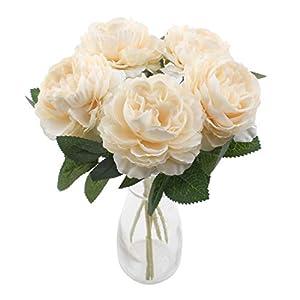 cherrboll – Ramo de Flores de peonía Artificiales de Seda con 5 Cabezales de plástico para decoración de Boda o Fiesta