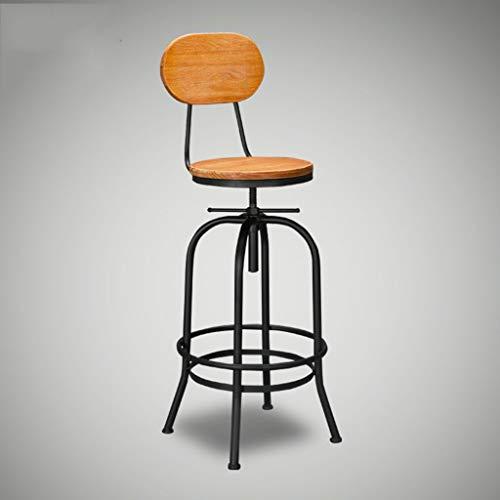 Retro-stil-barhocker (WG Seat Chair-Barhocker Loft Amerikanischer Stil Retro Eisen + Holz Barhocker mit Rückenlehne Hoher Hocker Kann Heben Kreative Barhocker - Schwamm + Kunstleder/Massivholz Stuhl Oberfläche)