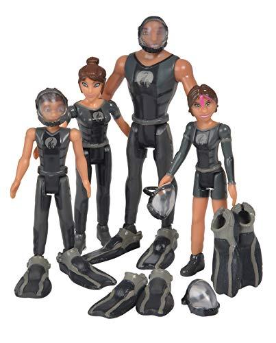 Simba 109391002 Die Die Nektons Familienpack/4er Figurenset/Will/Ant/Fontaine/Kaiko/im schwarzen Tauch-Outfit