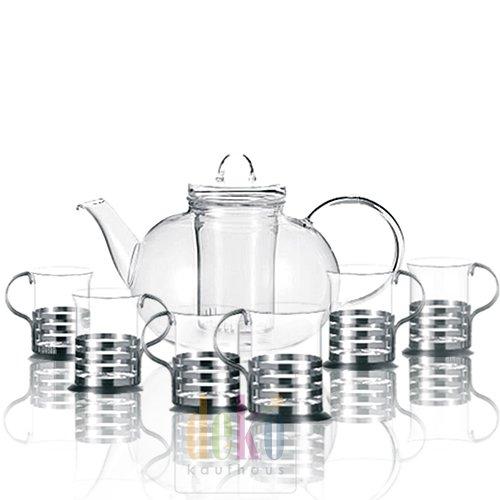 Leonardo Set Tee Balance 7tgl. / 1 Teekanne Balance + 6 Teegläser im Geschenkkarton
