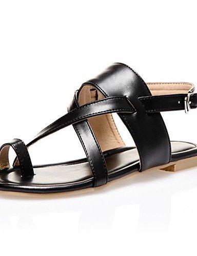 LFNLYX Chaussures Femme-Extérieure / Habillé / Décontracté-Noir / Marron / Argent-Talon Plat-Confort-Sandales-Matières Personnalisées Black