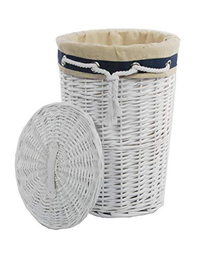 Cesto de mimbre blanco para ropa sucia para Colada, Weiß, 32 x 32 x 46 cm