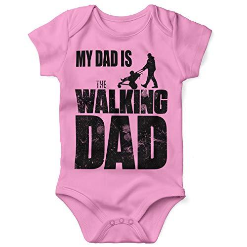 Mikalino Babybody mit Spruch für Jungen Mädchen Unisex Kurzarm My Dad is The Walking Dad | handbedruckt in Deutschland | Handmade with Love, Farbe:rosa, Grösse:74