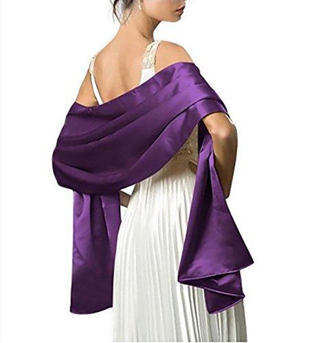 Achaestrella Satin Stola Schal für Kleider in 10 Farben (lila) (Herren-satin-schal)