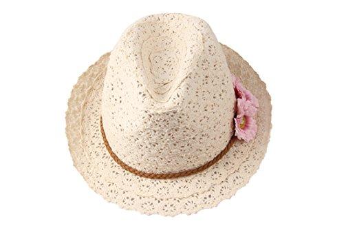 Dantiya Damen Mädschen Baumwolle Hut Sonne Sandstrand größe Krempe Zwei Blumen Tropenhelm (Beige) (Beige) (Sonne Damen Hut)