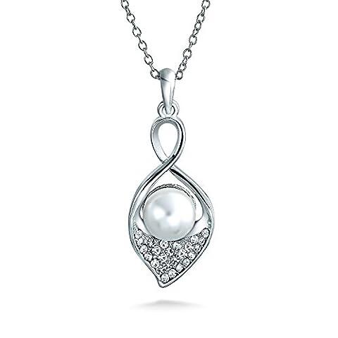 Calla Lily Simulated Pearl Bridal Pendant Rhodium