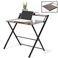 GreenForest Folding Desk 2 Tiers Computer Desk with Shelf Foldable Home Office Desk for Small Places, No Assembly Required, Espresso