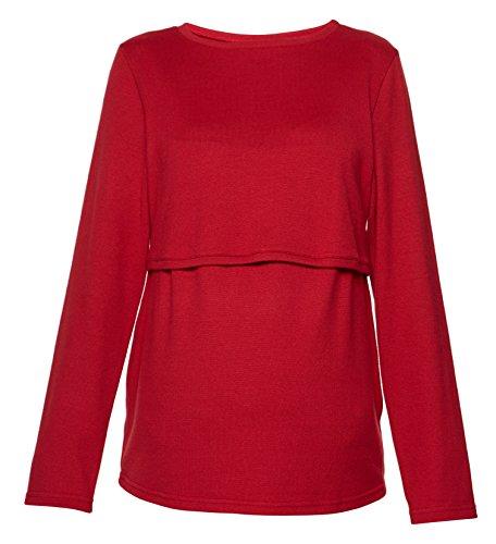Be! Mama - 2in1 Umstandspullover, Sweatshirt, Still-Pulli, Modell: LUGO Rot