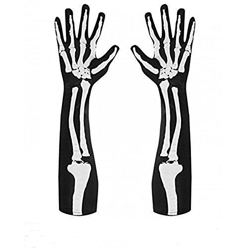 ToWinle 1 Paar Halloween Handschuhe Lange Cosplay Skelett Handschuhe Karneval Kostüm Zubehör Fasching Skeletthandschuh Halloween Accessoires (Lang)