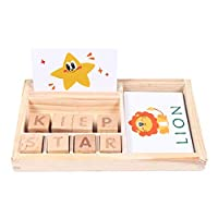 Jane Choi Wooden Educational Toys, Develops Alphabet Words Match And Spell Game for Kids Toddles, Preschool Learning Toys, Puzzle English Learn Toys (30pcs Cards)