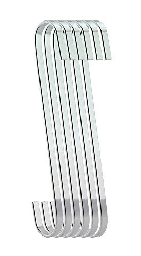 ruiling 6er Pack 20,3cm S flach Haken chrom Finish Stahl flach Haken zum Aufhängen-S-Form Haken schwere S Haken, für Utensilien, Pflanzen, Handtücher, Gartengeräte,, Kleidung -