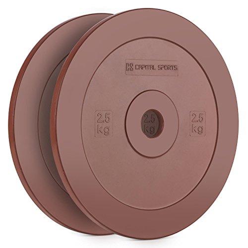 CAPITAL SPORTS Methoder Discos de técnica Discos de peso goma dura amortiguadora Pareja 2,5 kg, resistentes...