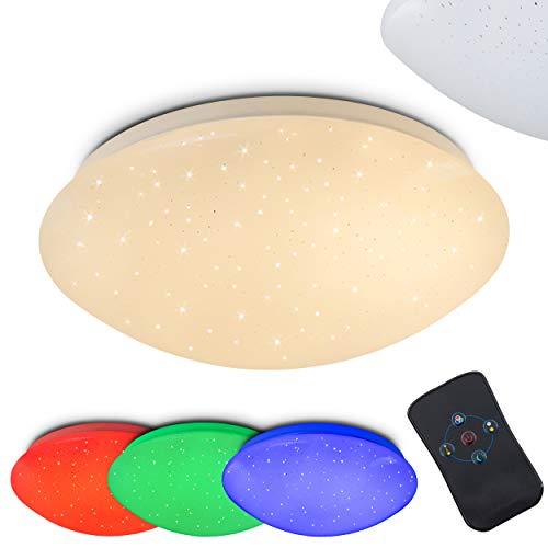 Runde LED Deckenleuchte Quebec mit Sterneneffekt, RGB Farbwechsler und Fernbedienung - Deckenspot mit farbigem Licht - Deckenlampe mit eingebauten LEDs - Dimmbar